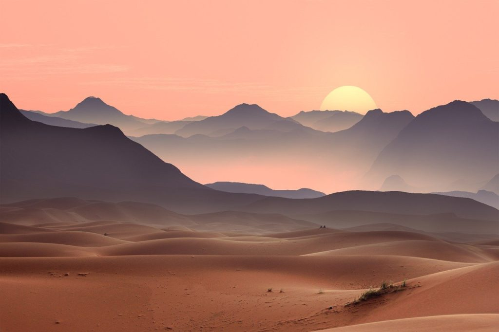 sunset, desert, dunes